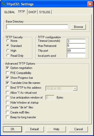 settings TFTP