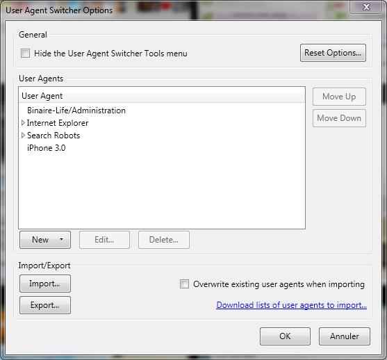 Options User Agent Switcher